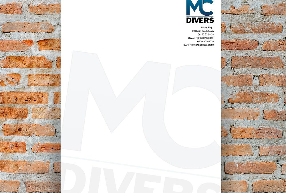 Briefpapier en logo MC Divers